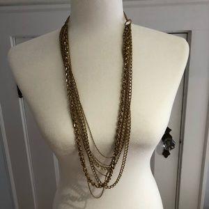 Banana Republic multi-chain long gold necklace